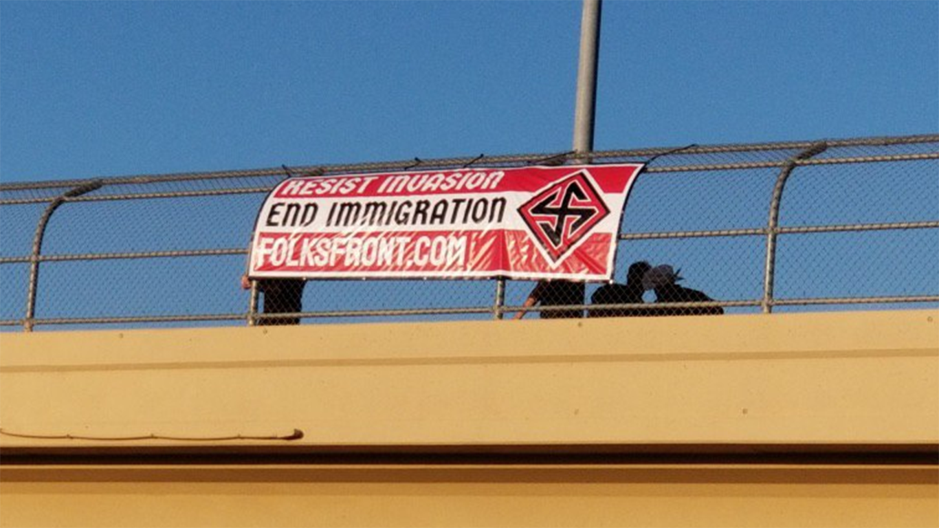 May Day Banner Drop